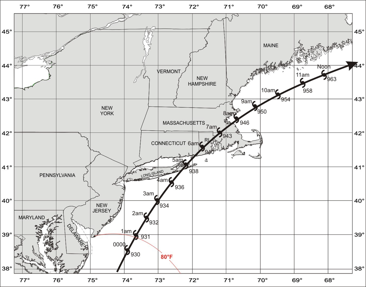 Track of the Great Colonial Hurricane of 1635