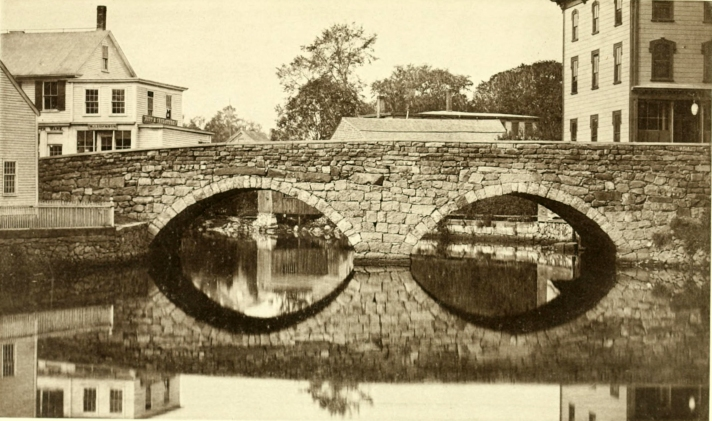 View of the Choate Bridge from downstream, published during the Celebration of the  250th Anniversary of Ipswich