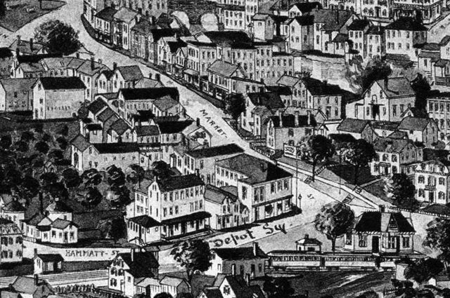 Depot Square closeup from the 1893 Birdseye Map of Ipswich