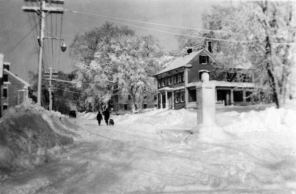 Lords Square, snowstorm sometime in the 20th Century, photo courtesy of David Wallace.