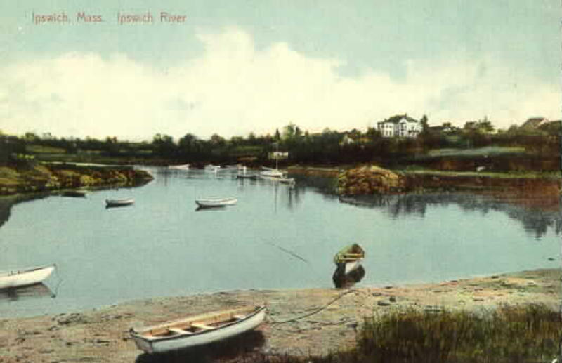 Postcard of the river at the Town Wharf