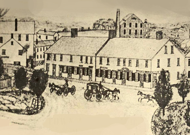 At the location of the Caldwell building next to the Choate Bridge there once stood a large mill built by Dr. John Manning. The mill failed, and became  the Smith Building, where it hosted businesses and  and hosted the Ipswich Post Office until the building burned in