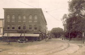 Market Square trolley tracks in 1910 in Ipswich