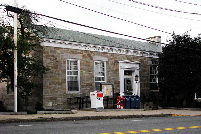 The current Ipswich Post Office was built in 1939 with U.S. Treasury funds.