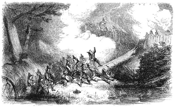 assault on the Narragansetts' fort in the Great Swamp Fight in December 1675