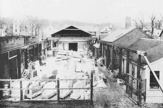 This photo of Barton Stone Inc. was taken in 1930 by Harold Bowen. It looks almost identical today. In the upper left corner you can see the old Manning School, where the Winthrop School is today.