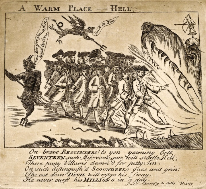 In this political cartoon by Paul Revere, John Calef is portrayed with a calf's head (beneath the pitchfork).