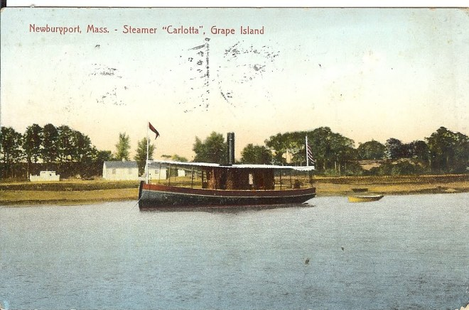 The steamship Carlotta sailed daily from the Ipswich Town Wharf to Grape Island and Plum Island