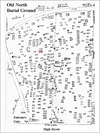 Daniel Denison's grave is marked in red on this map of the Old North Burial Ground from the book Memento Mori