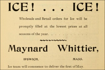 Maynard Whittier wholesale and retail ice, Ipswich MA