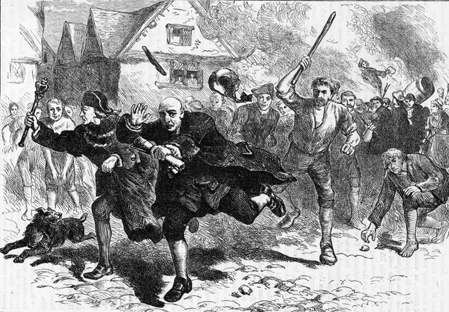 1766: Colonial governor Thomas Hutchinson (1711 - 1780) escaping from local rioters after demanding Stamp Tax from them. It was his refusal to return the British tea ships to Europe with their cargo that led to the Boston Tea Party. (Photo by Hulton Archive/Getty Images)