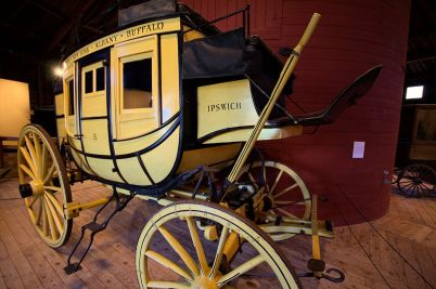 A Concord Coach on display at the Shelburne Museum in Vermont displays the name