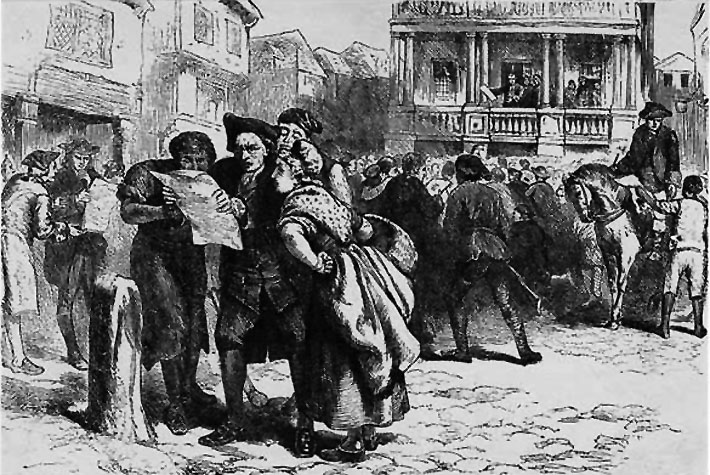 Angry citizens react to the Stamp Act.