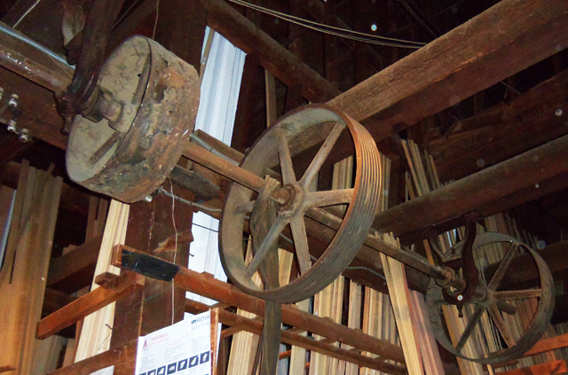 This system of pulleys was used to transport grain and flour in the building