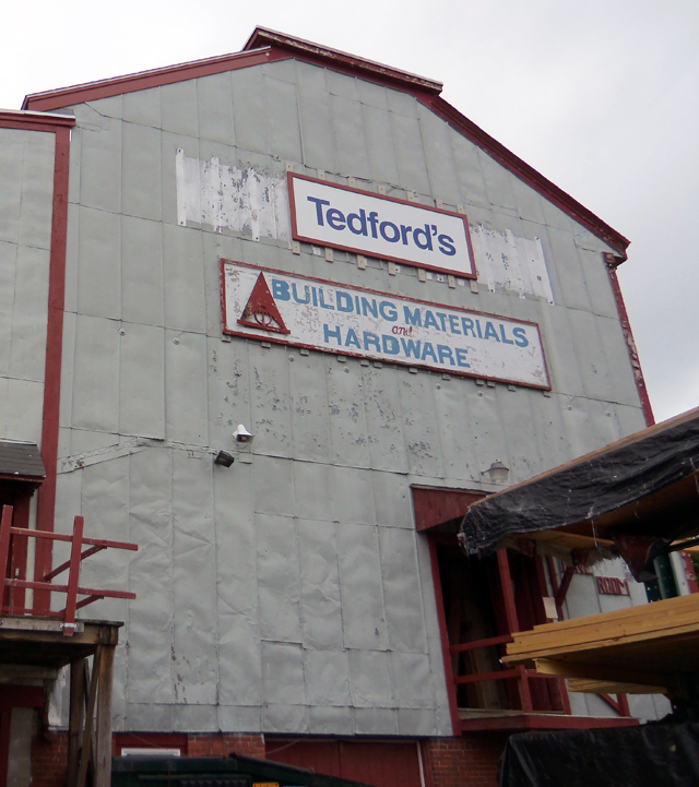 The silo at Tedfords Lumber on Brown Square