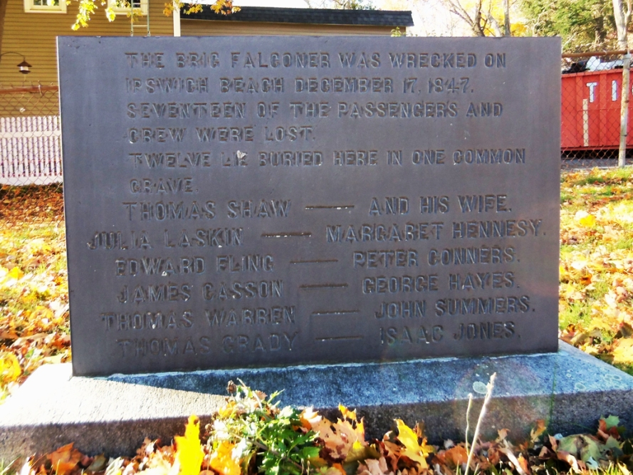 The Falconer tombstone marks the mass grave of a dozen people who died in the wreck of the brig Falconer at Crane Beach in 1847