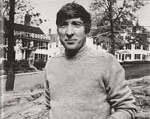 John Updike at the bottom of North Main Street across from his office above the Caldwell Building (Choate Bridge Pub)