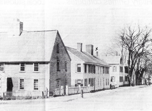 Caleb Lord House at what is now the corner of Manning and High Streets, an early First Period house