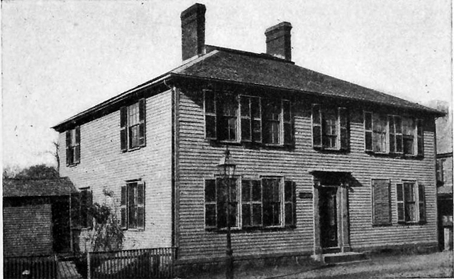 The Dr. Joseph Manning house on South Main Street, across from the Old Town Hall, in 1900, from the book Ipswich in the Massachusetts Bay Colony.