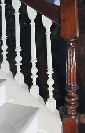 The Knowlton baluster design in the Richard Rogers House, here with a newel post with a turned and fluted shaft. Photo and text--John Fiske