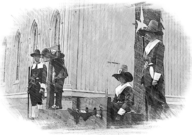 Puritan punishment  being re-enacted at the old First Church during the Ipswich 300th anniversary celebration, 1934.