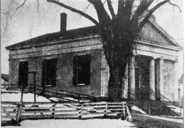 The Unitarians built the original building, which was later purchased by the Town of Ipswich. The structure shown above was raised and a first floor was added below it.