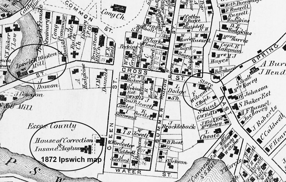 Map of County and East Streets in Ipswich in 1972