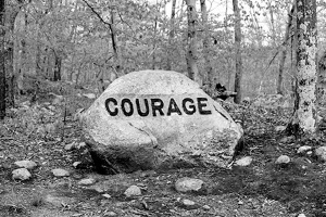 Courage boulder at Dogtown