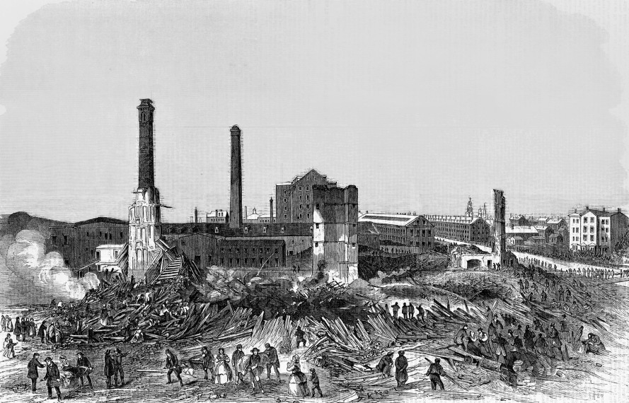 The ruins of Pemberton Mill in Lawrence, Massachusetts. On January 10, 1860