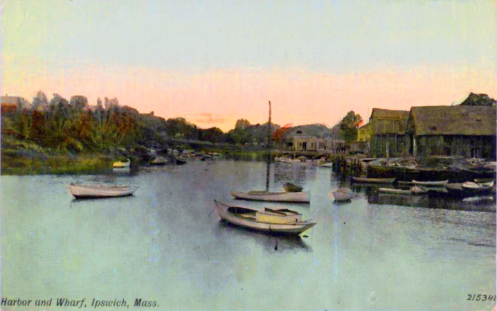 Postcard of the Town Wharf, with Water St. in the background.