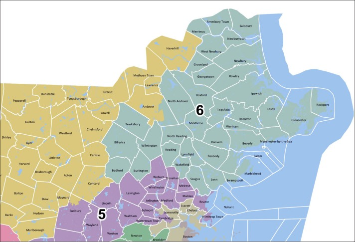 6th Massachusetts Congressional District map
