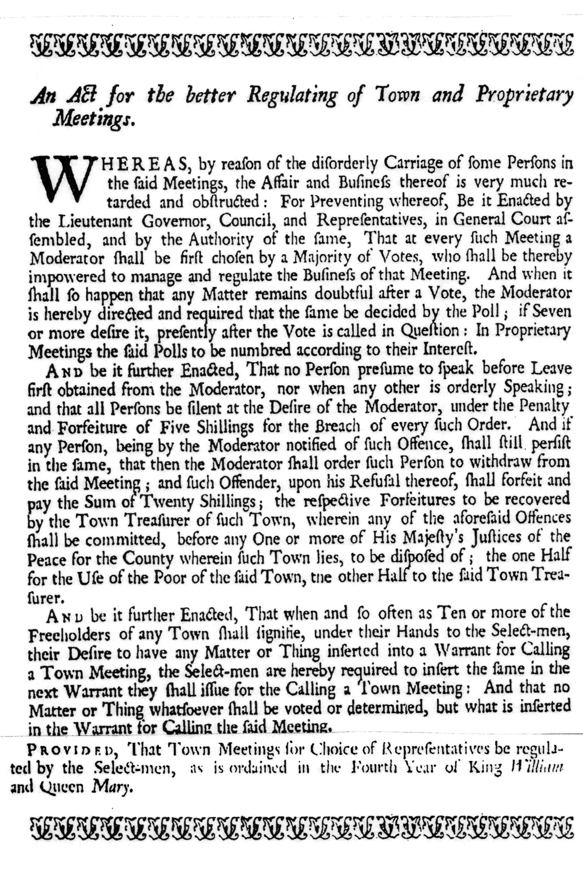 MA Chapter 244 of the Acts of 1715