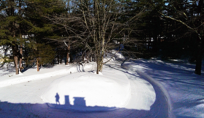 While she was on the roof, Deb took this photo of our circular driveway and the 10' snow mound in the middle.