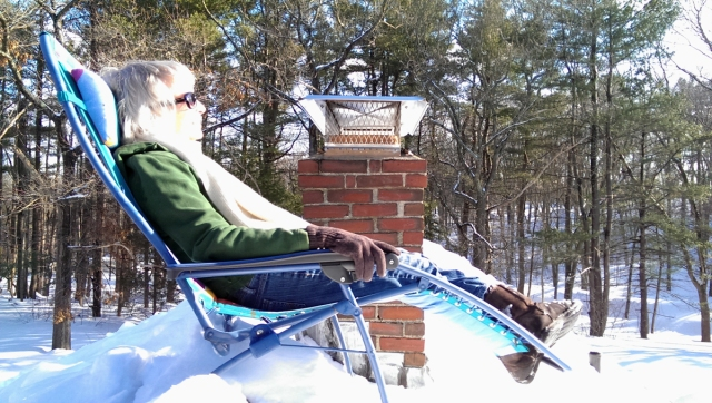 Deb Wysong catching some rays, February 23