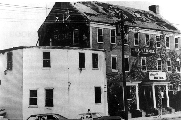 The Hayes Hotel the morning after the fire which killed three men, August 24, 1969