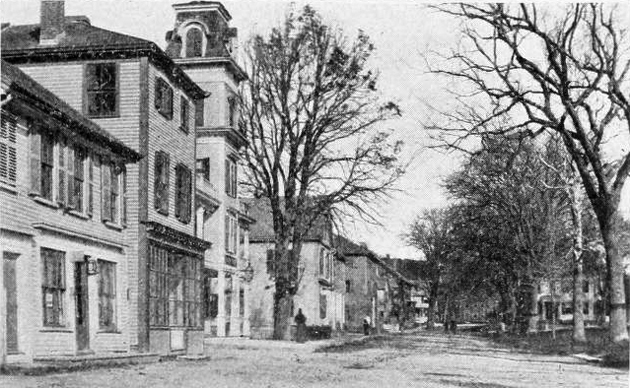 Looking north on North Main St. The Agawam house still stands, but has lost its glory.