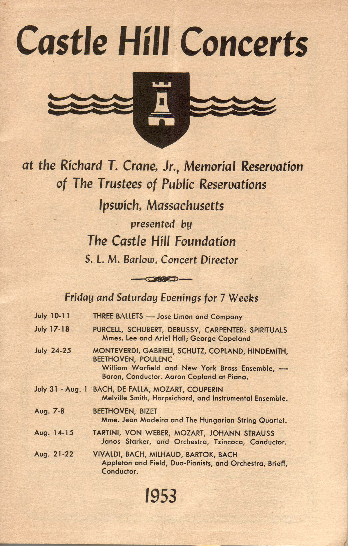 Castle Hill Concerts in 1953