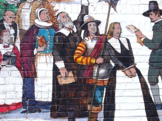 Image from the Ipswich Riverwalk mural: Elizabeth Howe of Linebrook Road is arrested for witchcraft.