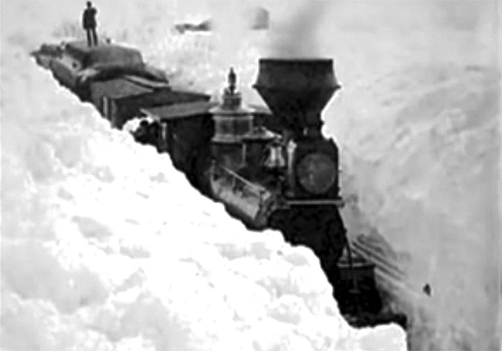 The Great White hurricane, train surrounded by snow