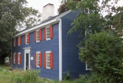 Caleb Kimball house, High St., is known as the House with Orange Shutters
