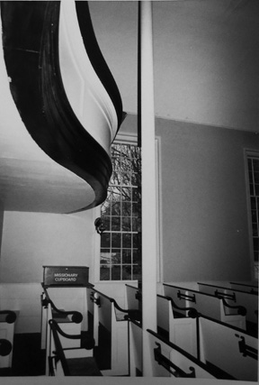 Balcony and pews in Linebrook Church