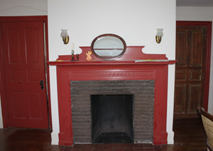 Fireplace and original doors in the Old Manse, 1 High St. in Ipswich