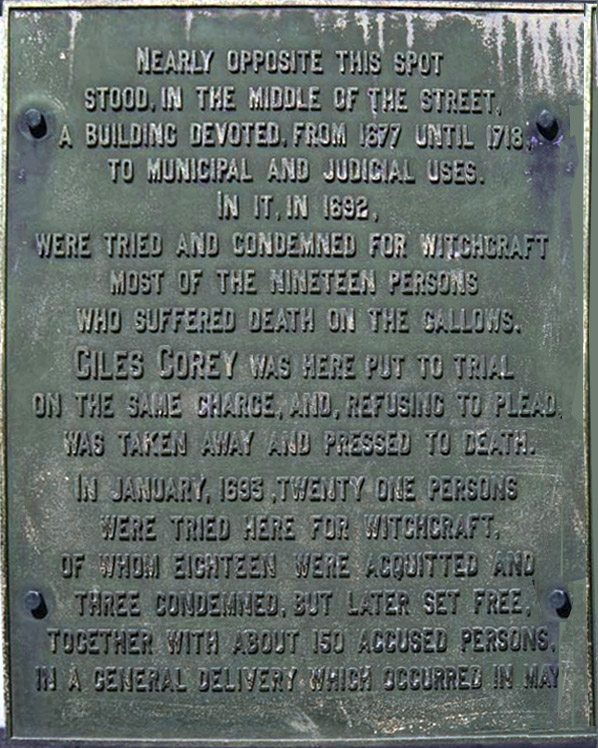 Plaque about the location of the Salem courthouse during the witchcraft trials