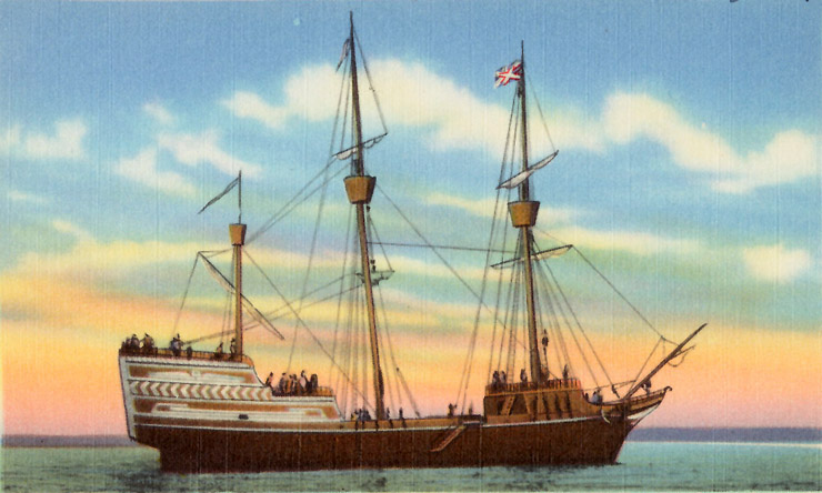 John Winthrop and the first Puritans sailed from England to Salem on the Arabella (aka Arbella)