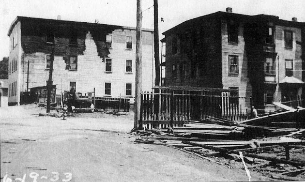 Buildings nearby in Brown Square were scorched by the fire