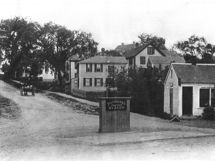 The intersection of East and Spring Streets, with a Hayward Scale in the intersection, before 1900. Photo by George Dexter