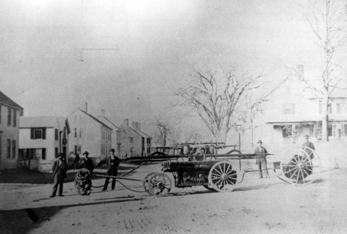 Lords Square, early hand-pulled fire truck