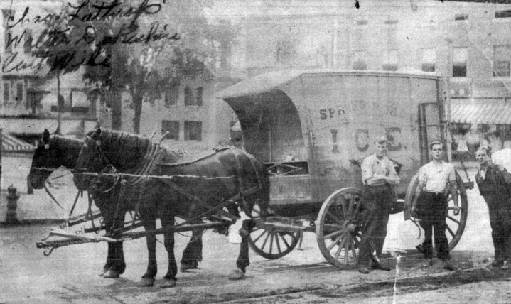 Lathrop Brothers delivering ice