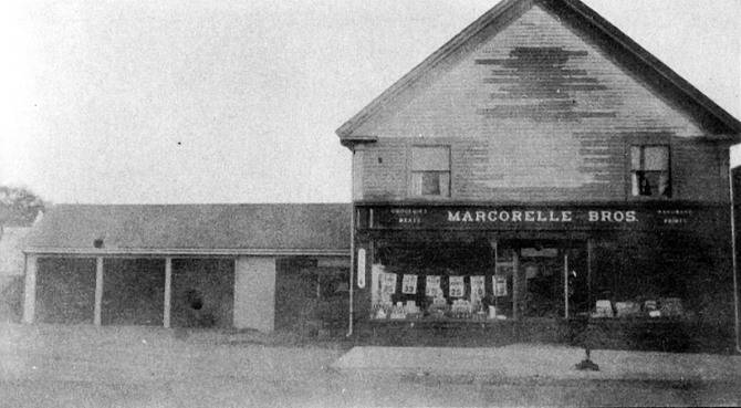 Marcorelle's store at Lords Square. The building still stands. French Canadians were among the first foreign-language immigrants to Ipswich.