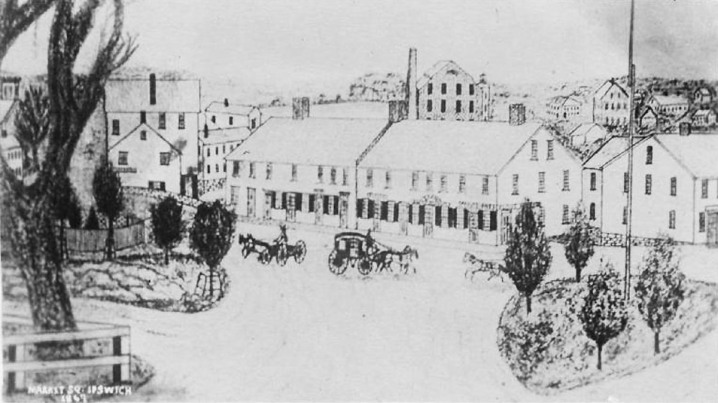 1867 sketch of Marketplace Square shows the Choate Bridge on the far left. The buildings are in the location of the Caldwell Block (built circa 1870), home to the Choate Bridge Pub. The Old Stone Mill can be seen in the background.